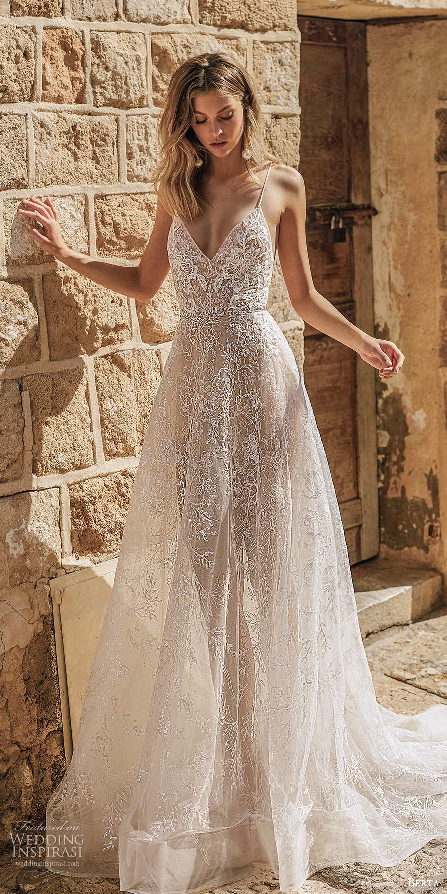 berta 2020 muse bridal sleeveless thin straps v neckline fully embellished lace a line ball gown romantic wedding dess chapel train (1) mv