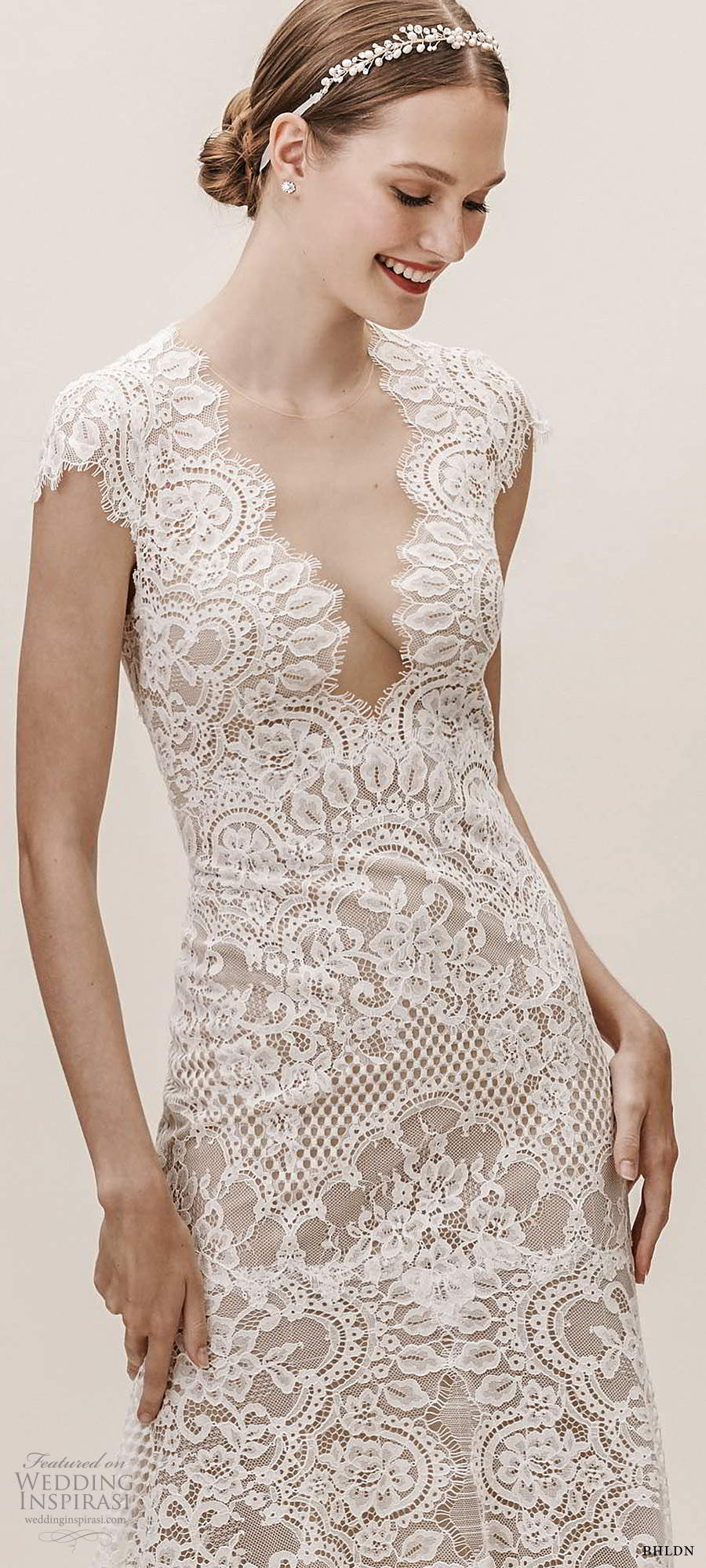 bhldn fall 20190 bridal cap sleeves plunging v neckline fully embellished lace fit flare a line wedding dress illusion keyhole back chapel train (7) lv