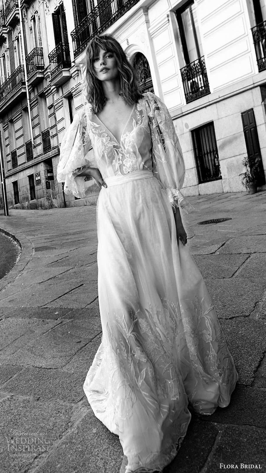 flora bridal 2020 bridal 3 quarter bishop sleeves plunging v neckline sheer embellished bodice a line boho chic wedding dress sweep train (3) mv