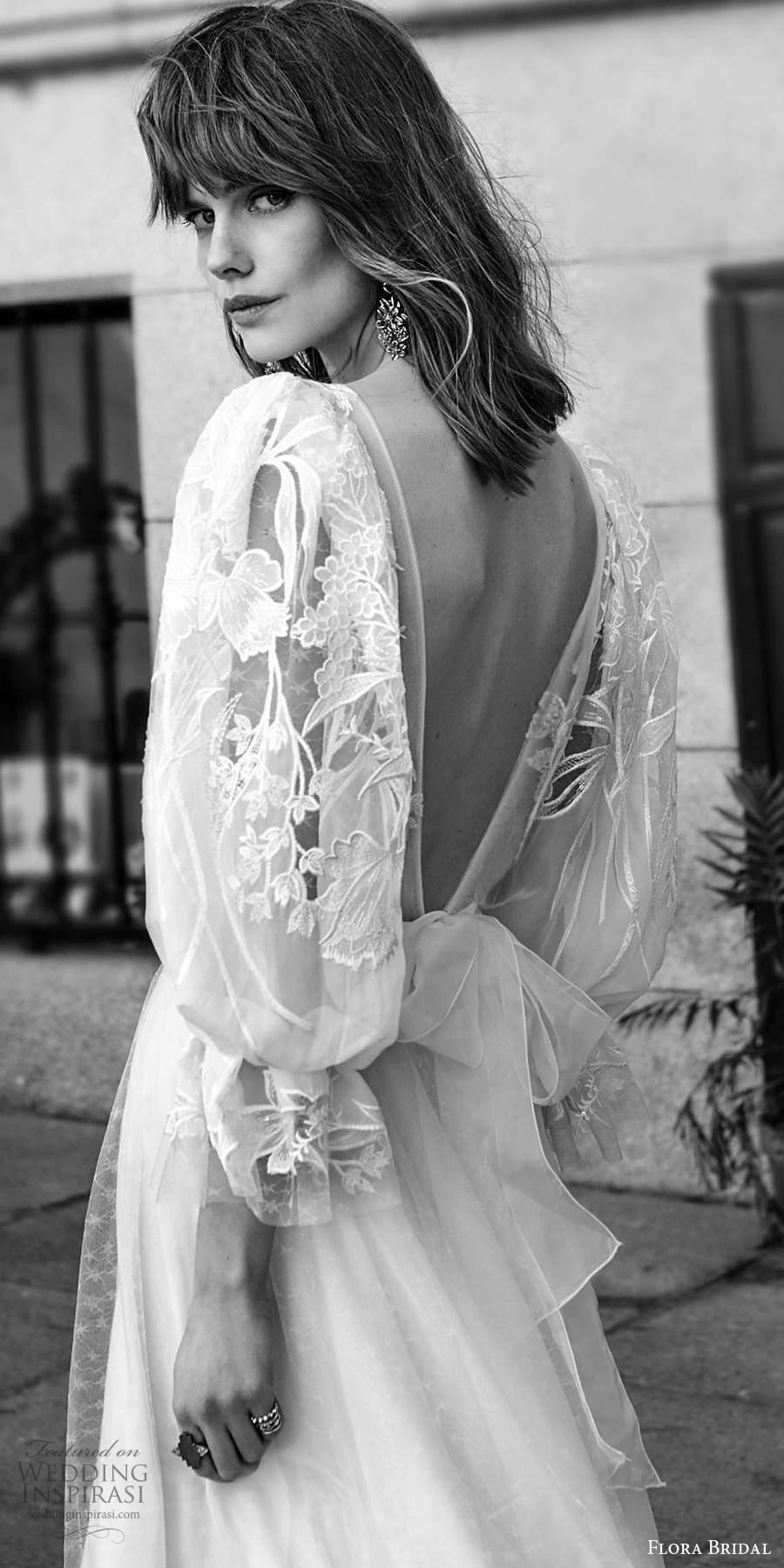 flora bridal 2020 bridal 3 quarter bishop sleeves plunging v neckline sheer embellished bodice a line boho chic wedding dress sweep train (3) zbv