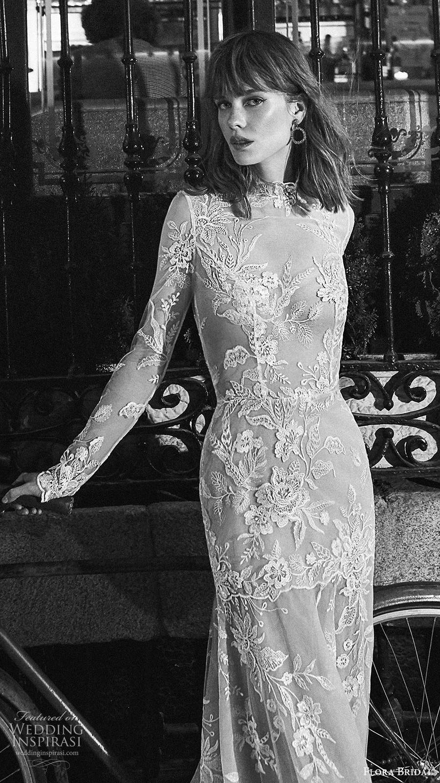 flora bridal 2020 bridal illusion long sleeves high neckline sheer bodiece fully embellished lace sexy a line sheath wedding dress (11) mv