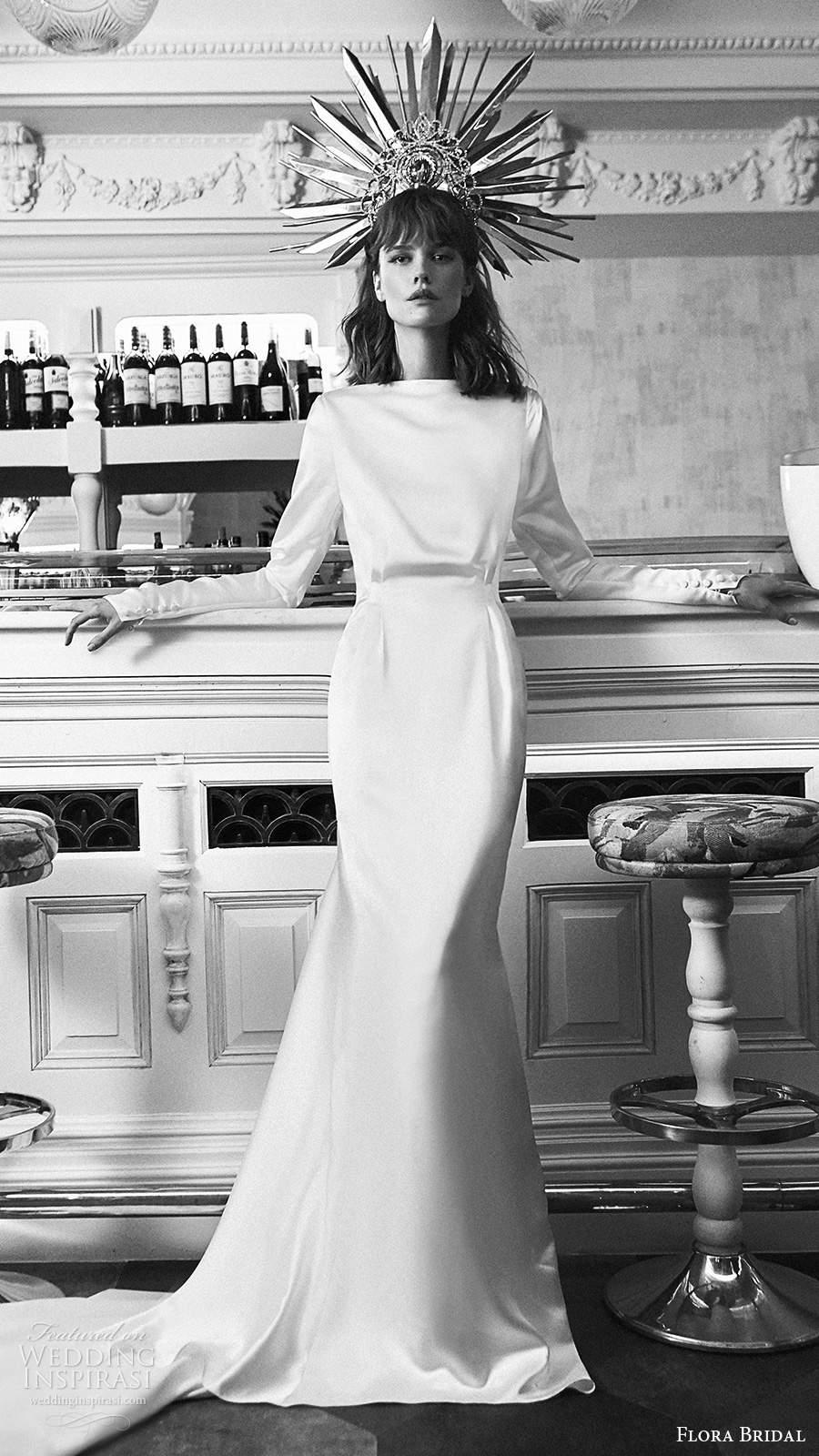 flora bridal 2020 bridal long dolman sleeves bateau neckline minimalist vintage blouson bodice mermaid wedding dress chapel train (16) mv