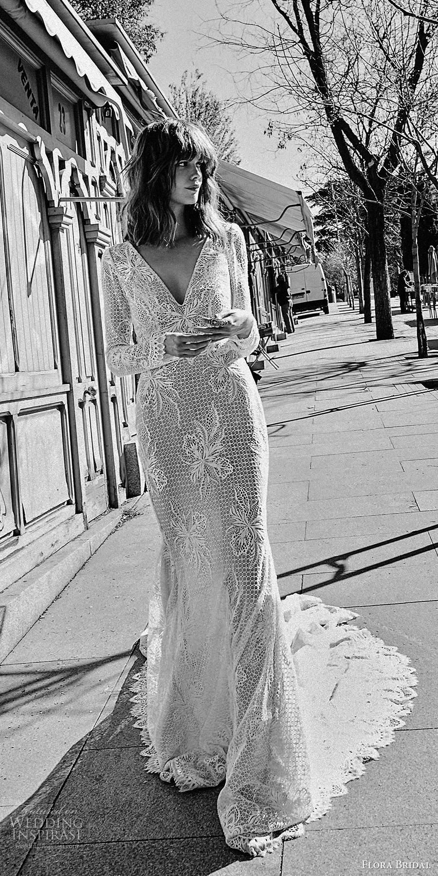 flora bridal 2020 bridal long puff sleeves plunging v neckline fully embellished lace elegant mermaid sheath wedding dress chapel train (1) mv