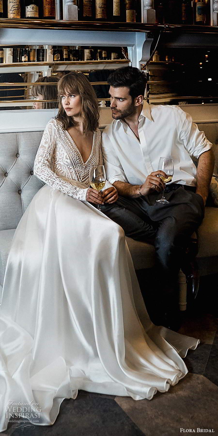 flora bridal 2020 bridal long sleeves deep v neckline embellished lace bodice clean skirt elegant ball gown a line wedding dress chapel train (9) mv