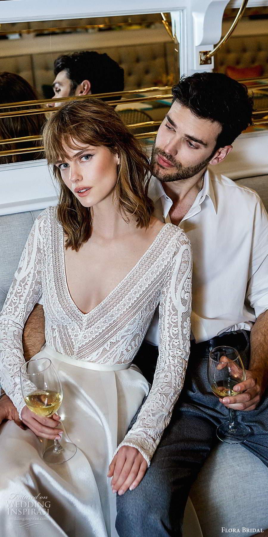 flora bridal 2020 bridal long sleeves deep v neckline embellished lace bodice clean skirt elegant ball gown a line wedding dress chapel train (9) zv