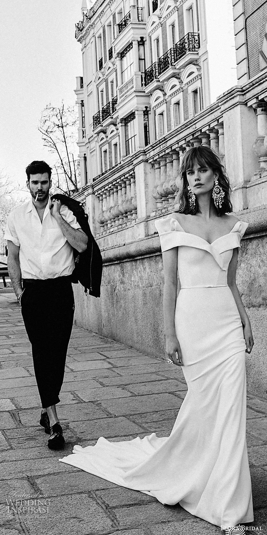 flora bridal 2020 bridal off shoulder sweetheart neckline mininmalist clean elegant sheath wedding dress chapel train (7) mv