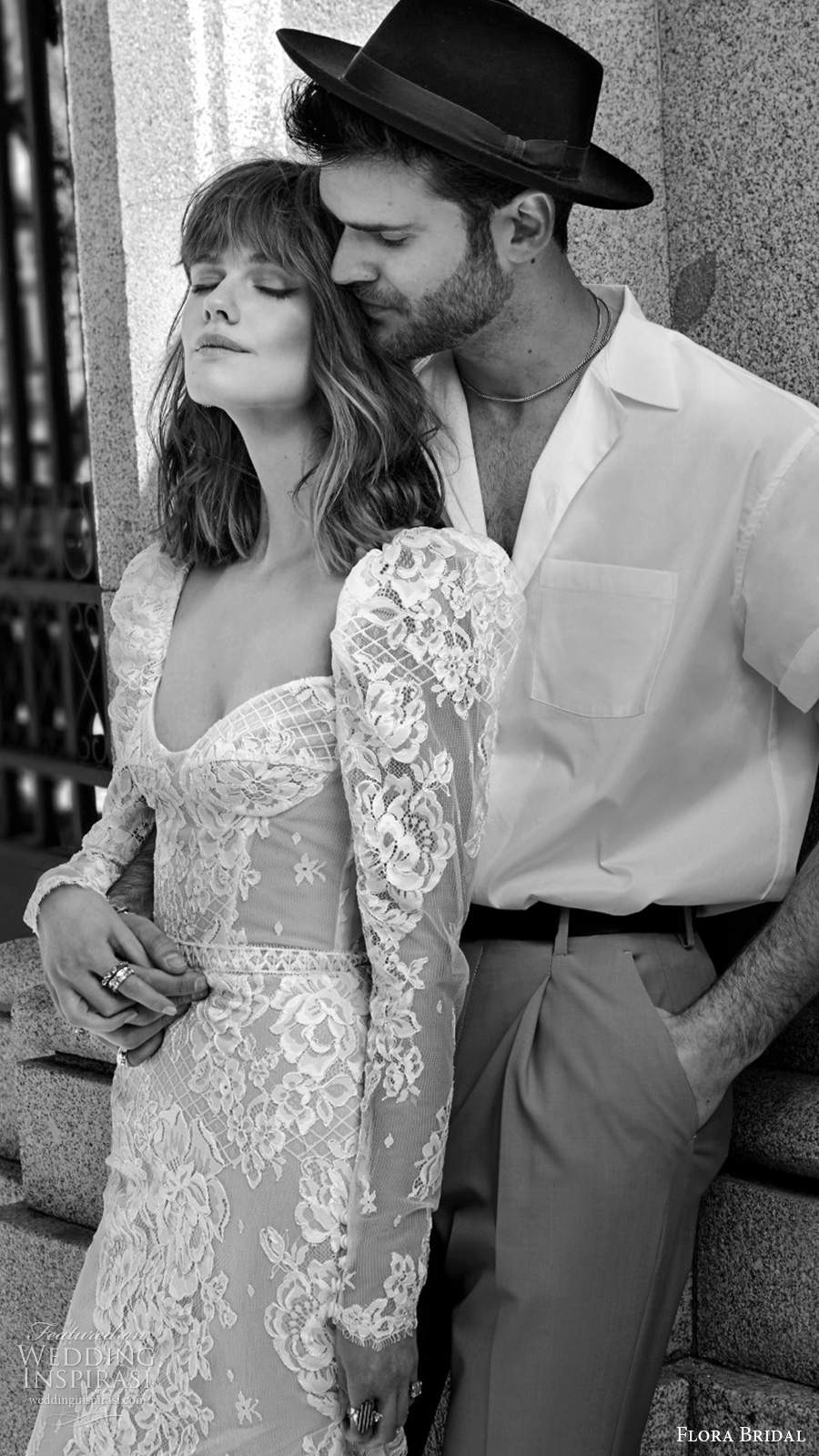 flora bridal 2020 bridal sheer long puff sleeves sweetheart neckline fully embellished lace elegant sheath wedding dress chapel train (10) sv