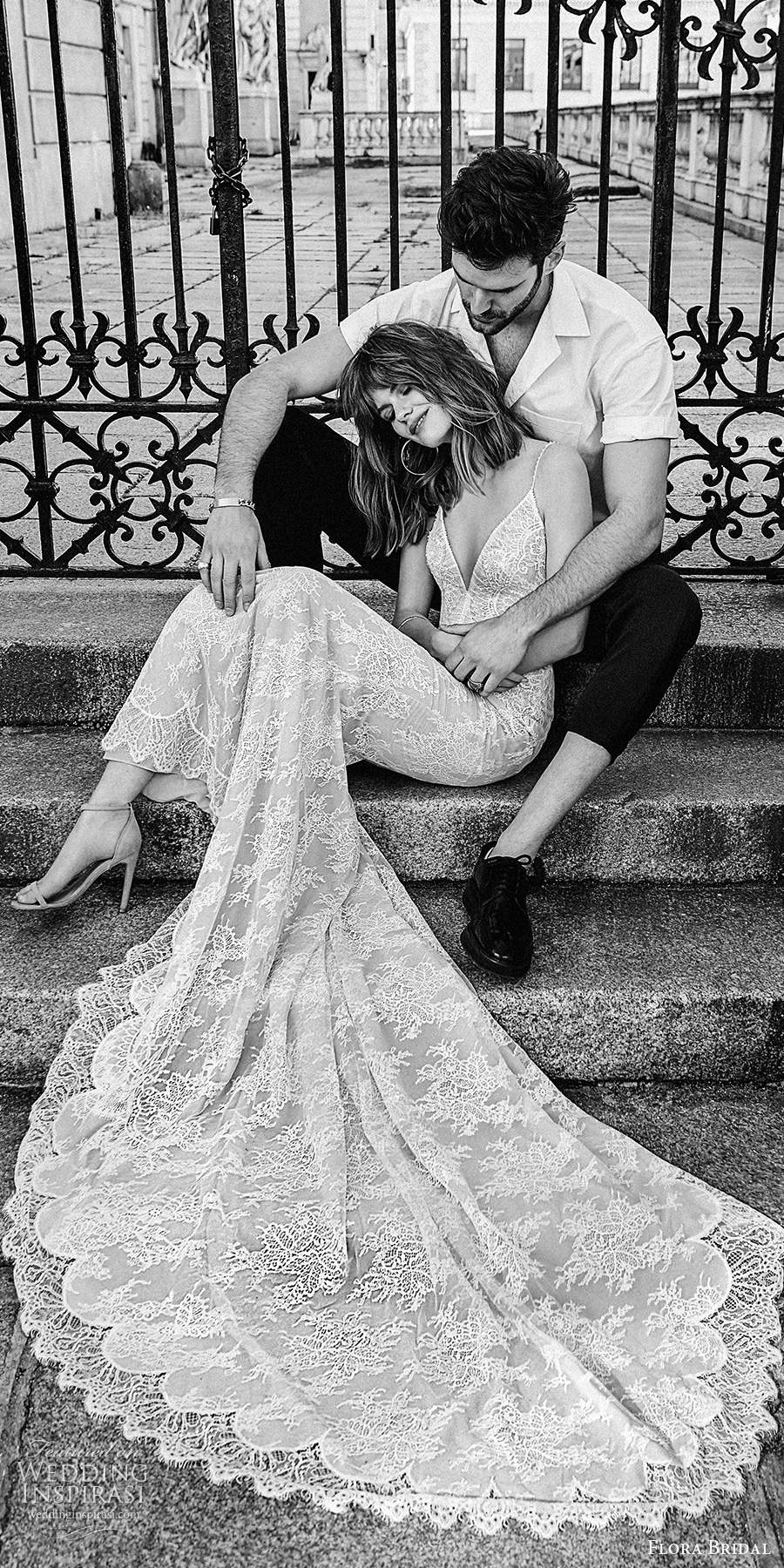 flora bridal 2020 bridal sleeveless thin straps plunging v neckline fully embellished lace sheath wedding dress chapel train (5) mv