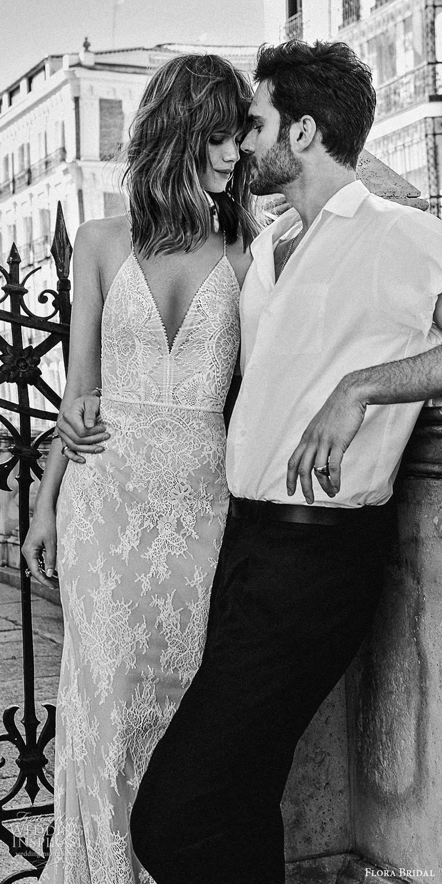 flora bridal 2020 bridal sleeveless thin straps plunging v neckline fully embellished lace sheath wedding dress chapel train (5) zv