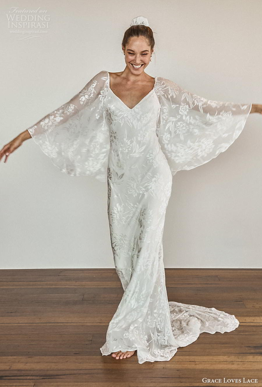 grace love lace 2020 bridal long angel sleeves diamond neckline full embellishment elegant bohemian modified a  line wedding dress backless medium train (8) mv
