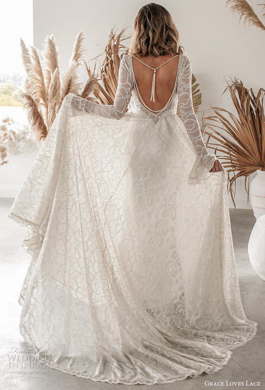 grace love lace 2020 bridal long poet sleeves deep v neck full embellishment elegant champagne color a  line wedding dress backless scoop back chapel train (3) bv