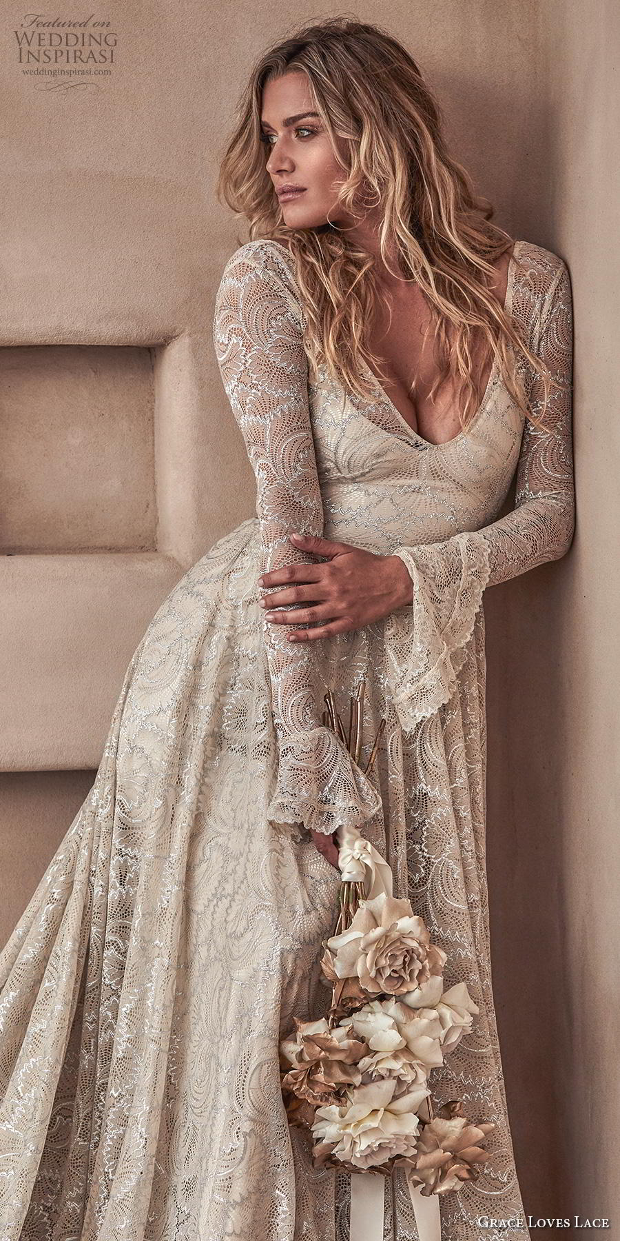 grace love lace 2020 bridal long poet sleeves deep v neck full embellishment elegant champagne color a  line wedding dress backless scoop back chapel train (3) lv