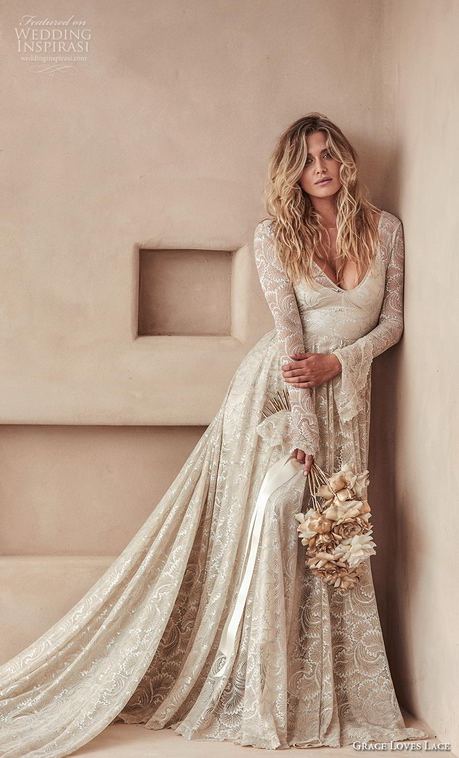 grace love lace 2020 bridal long poet sleeves deep v neck full embellishment elegant champagne color a  line wedding dress backless scoop back chapel train (3) mv