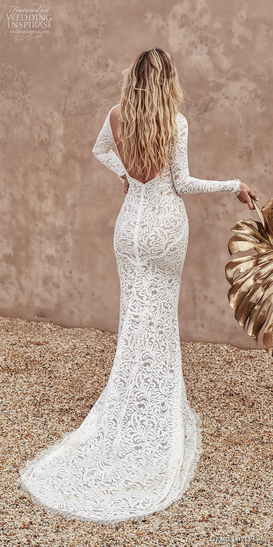 grace love lace 2020 bridal long sleeves bateau neckline full embellishment elegant fit and flare wedding dress backless medium train (7) bv