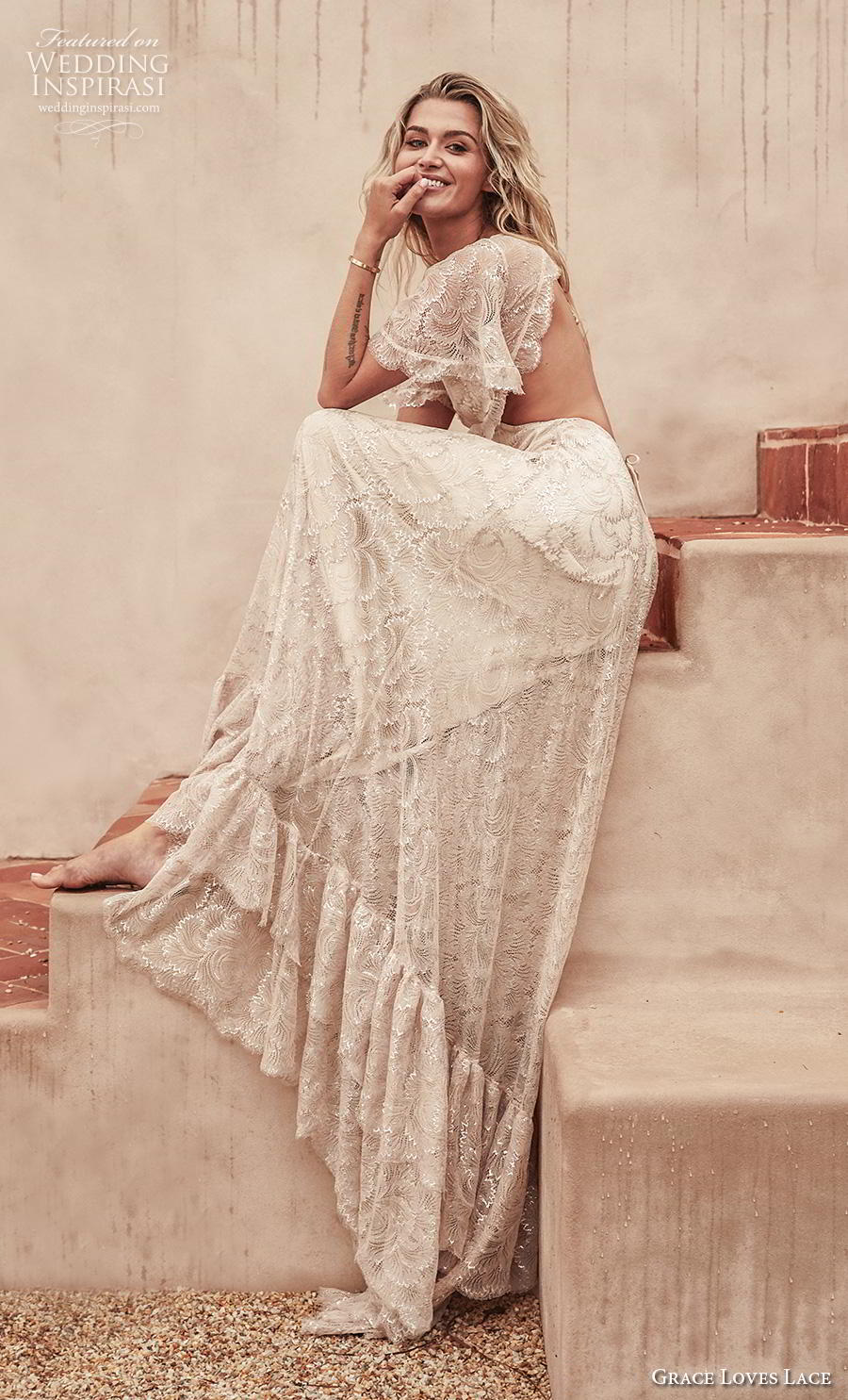 grace love lace 2020 bridal short handkerchief sleeves illusion bateau sweetheart neckline bohemian vintage a  line wedding dress backless keyhole back sweep train (4) mv