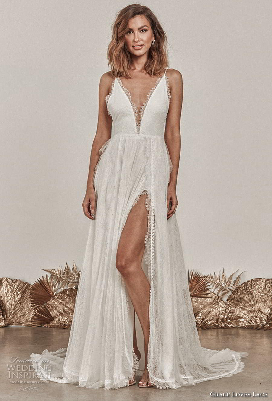 grace love lace 2020 bridal sleeveless spaghetti strap deep v neck full embellishment slit skirt romantic sexy soft a  line wedding dress backless chapel train (12) mv