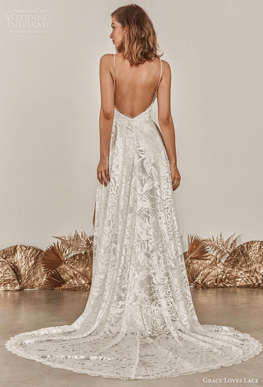 grace love lace 2020 bridal sleeveless spaghetti strap deep v neck full embellishment slit skirt sexy romantic soft a  line wedding dress backless medium train (5) bv