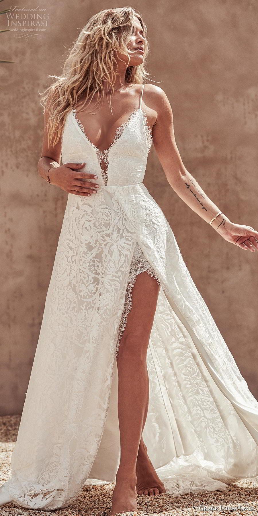 grace love lace 2020 bridal sleeveless spaghetti strap deep v neck full embellishment slit skirt sexy romantic soft a  line wedding dress backless medium train (5) lv