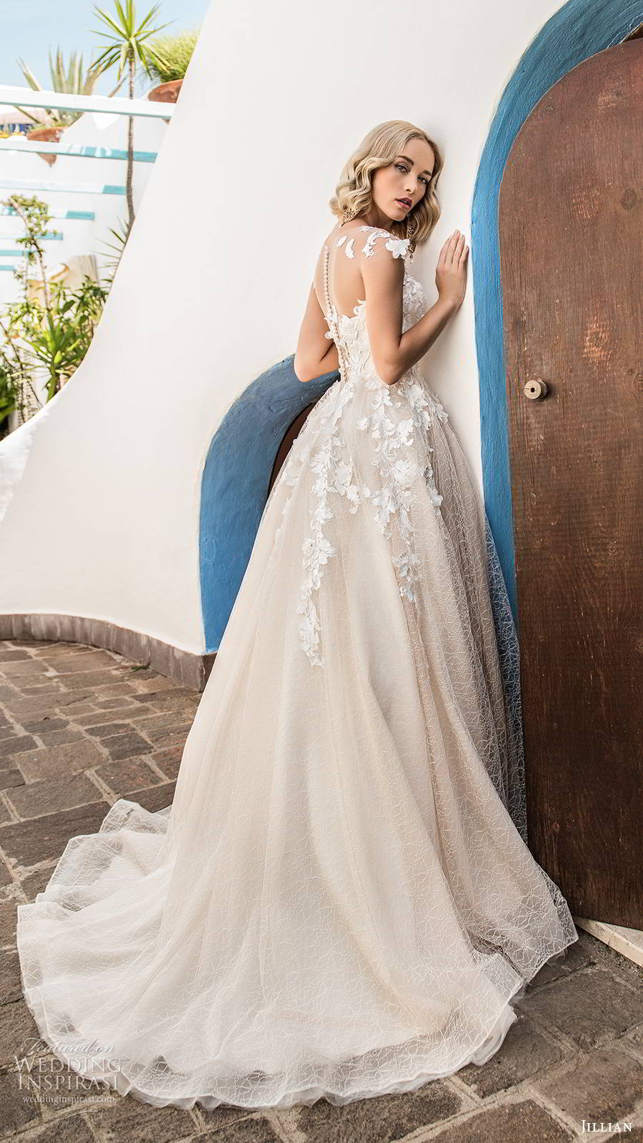 jillian sposa 2020 bridal illusion cap sleeves sweetheart neckline embellished bodice a line ball gown wedding dress chapel train blush color (2) bv