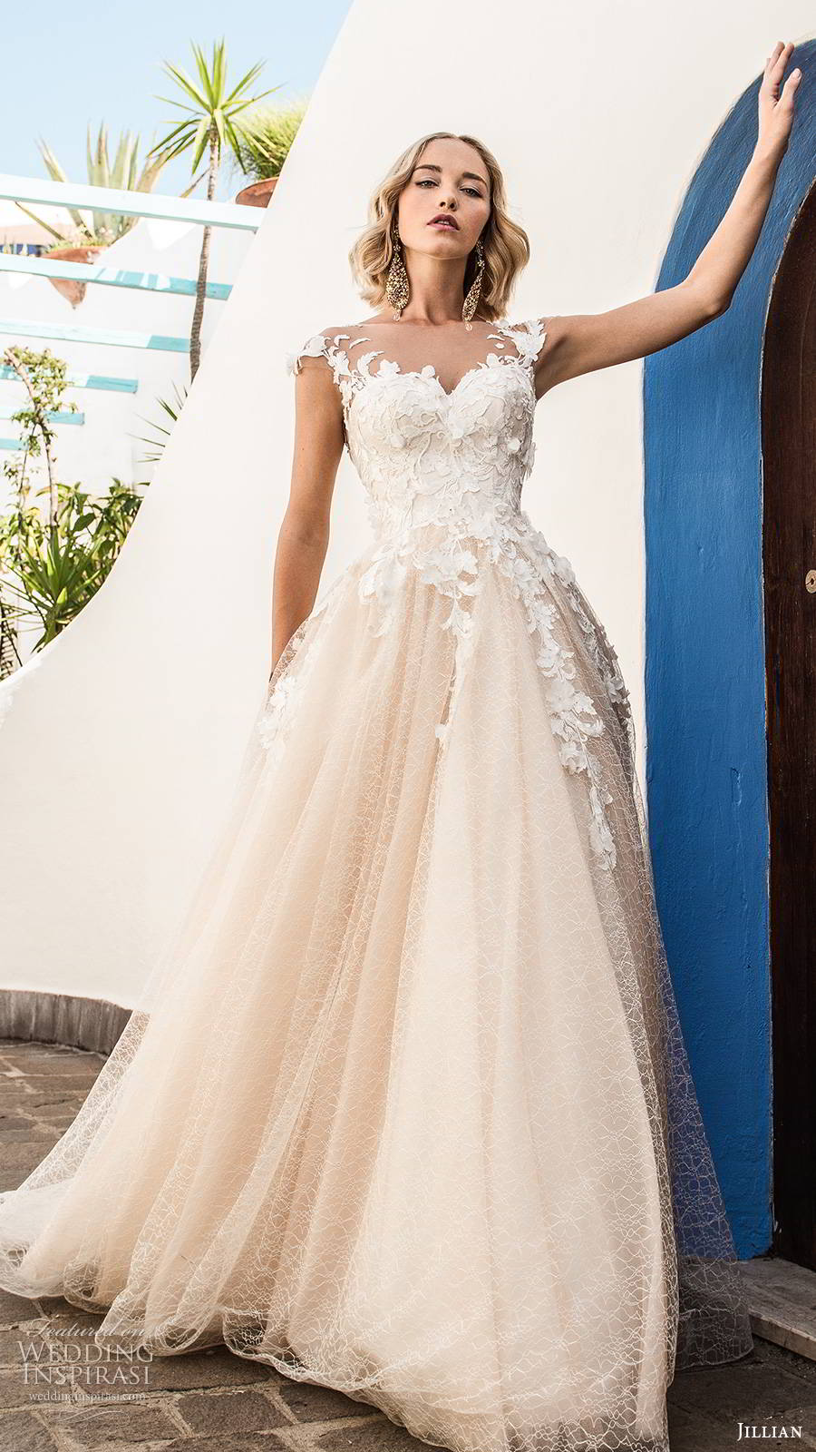 jillian sposa 2020 bridal illusion cap sleeves sweetheart neckline embellished bodice a line ball gown wedding dress chapel train blush color (2) mv