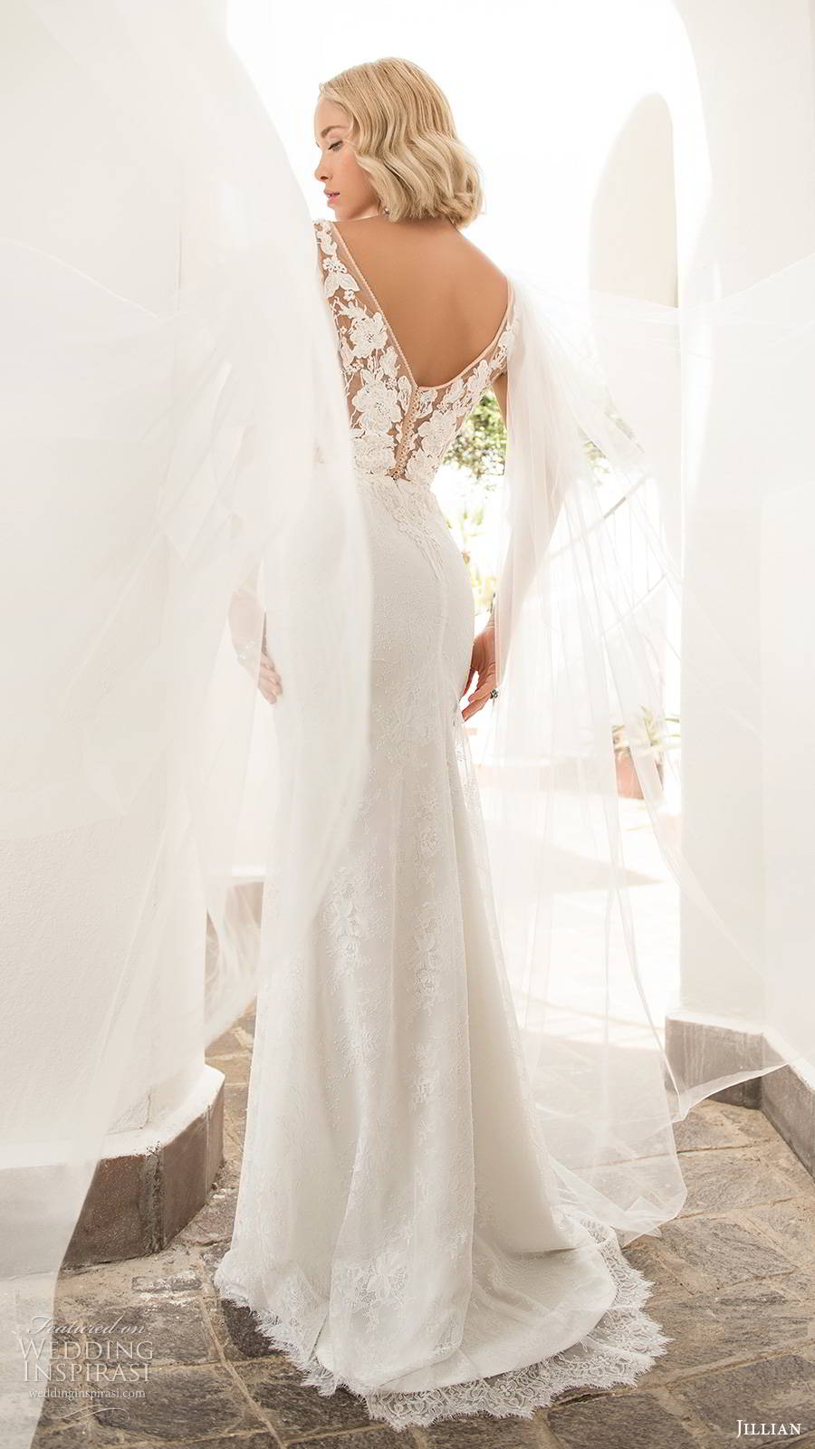 jillian sposa 2020 bridal illusion long flutter sleeves plunging v neckline slit skirt elegant glam lace fit flare wedding dress chapel train (1) bv
