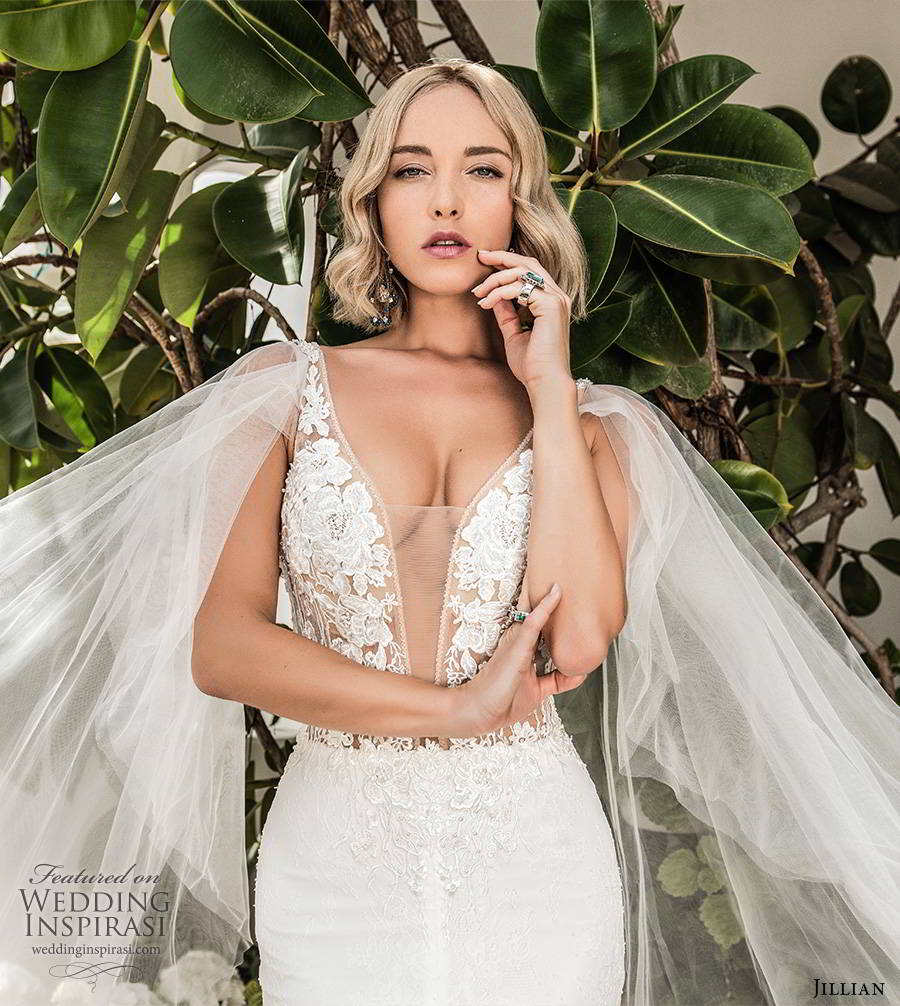 jillian sposa 2020 bridal illusion long flutter sleeves plunging v neckline slit skirt elegant glam lace fit flare wedding dress chapel train (1) fv