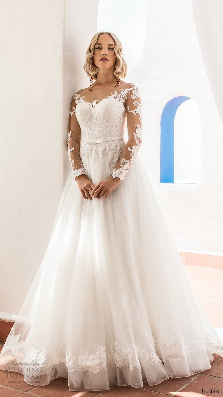 jillian sposa 2020 bridal illusion long sleeves sheer bateau sweeetheart neckline embellished lace bodice a line ball gown wedding dress illusion back chapel train (4) mv