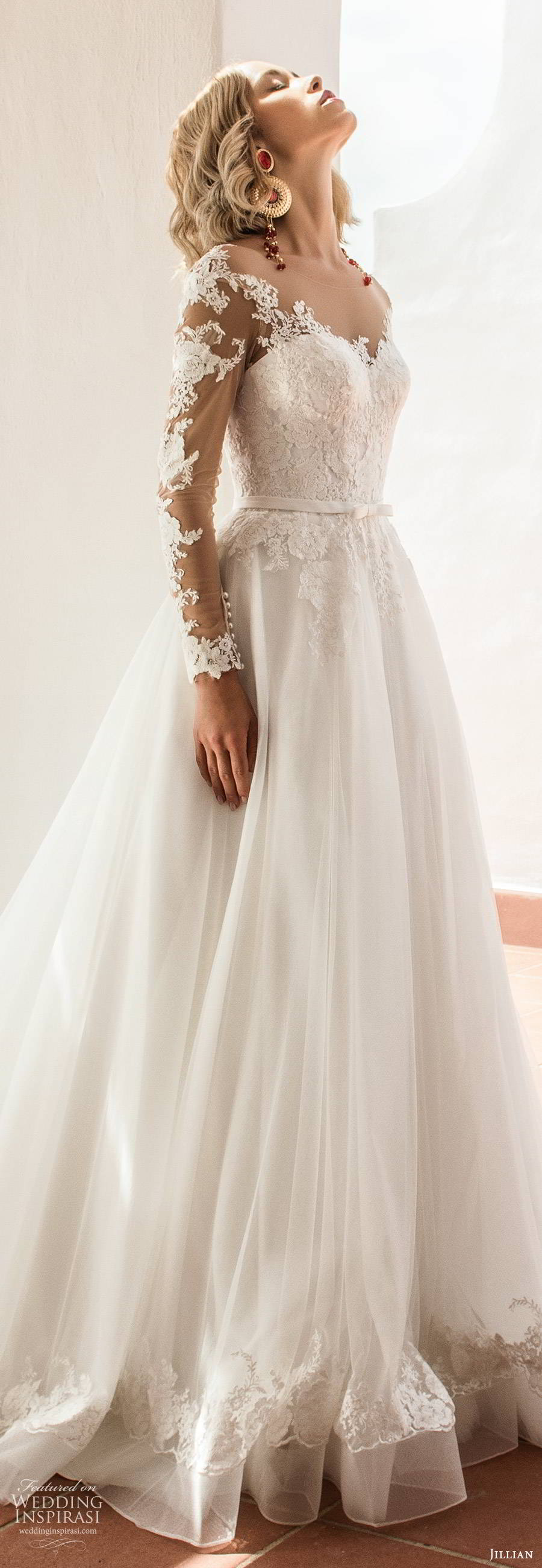 jillian sposa 2020 bridal illusion long sleeves sheer bateau sweeetheart neckline embellished lace bodice a line ball gown wedding dress illusion back chapel train (4) zsv