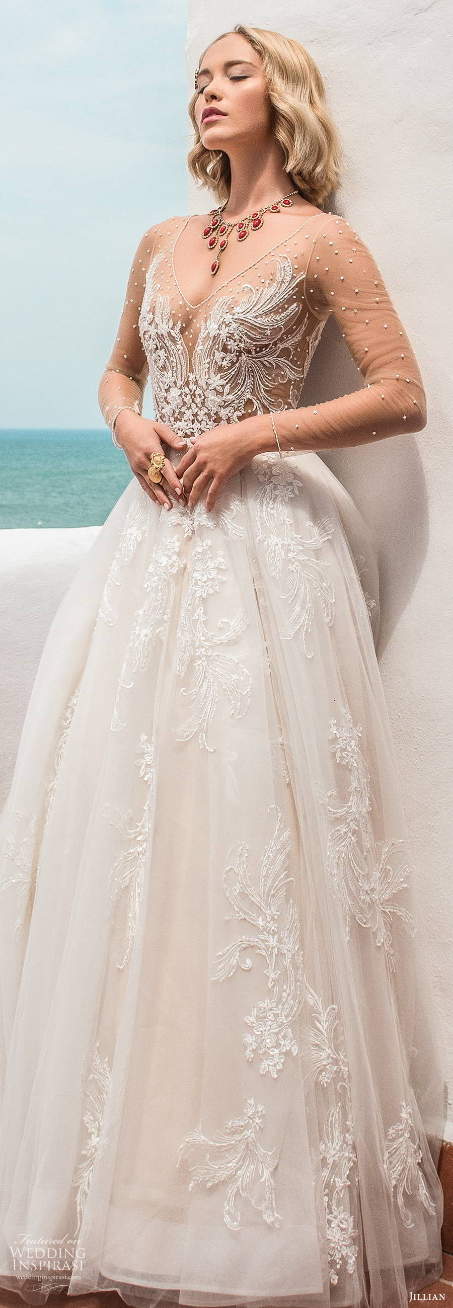 jillian sposa 2020 bridal illusion long sleeves sheer v neckline fully embellished a line ball gown wedding dress sheer v back cathedral train (7) lv