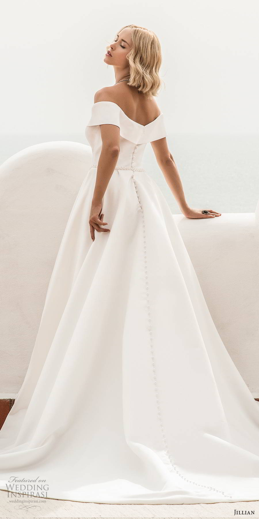 jillian sposa 2020 bridal off shoulder short sleeves sweetheart neckline minimally embellished clean elegant a line ball gown wedding dress pockets chapel train (3) bv