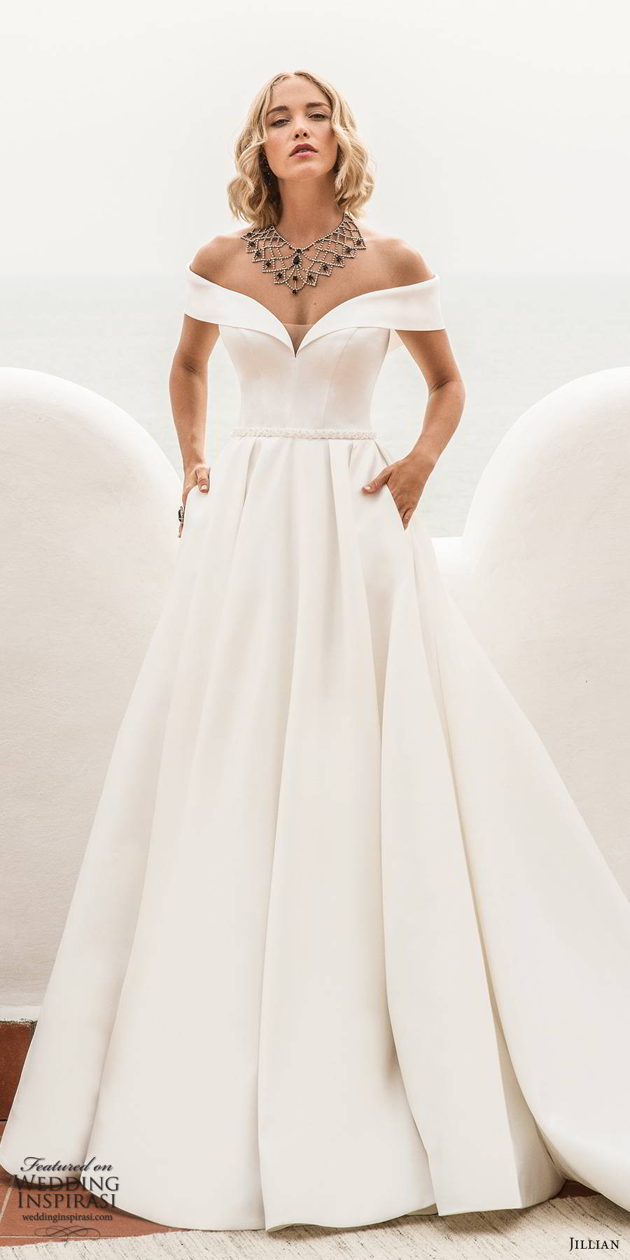 jillian sposa 2020 bridal off shoulder short sleeves sweetheart neckline minimally embellished clean elegant a line ball gown wedding dress pockets chapel train (3) mv