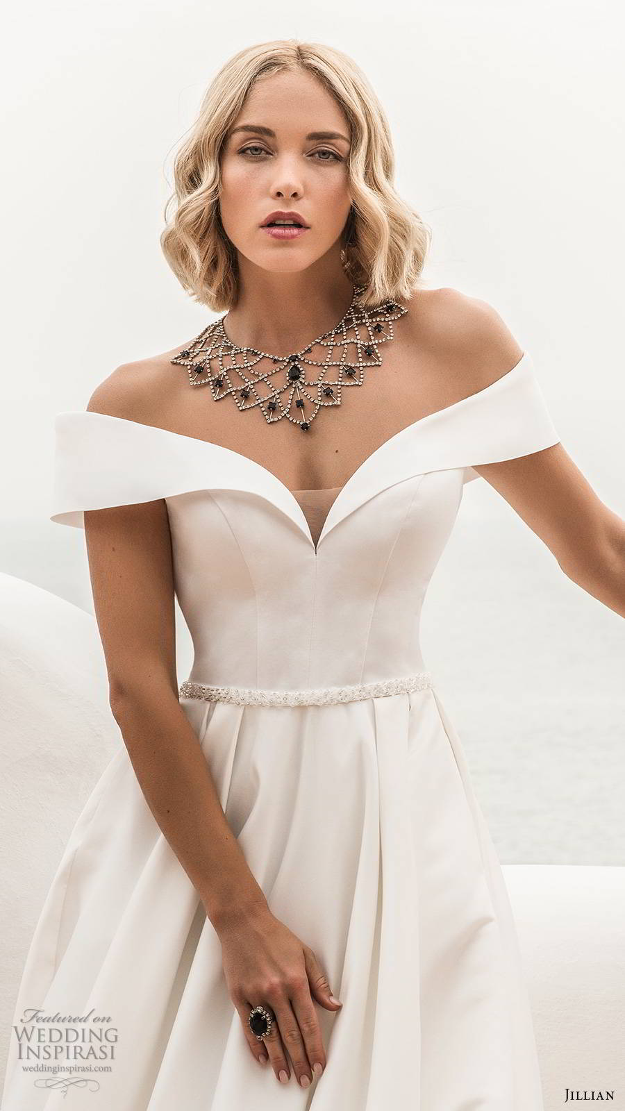 jillian sposa 2020 bridal off shoulder short sleeves sweetheart neckline minimally embellished clean elegant a line ball gown wedding dress pockets chapel train (3) zv