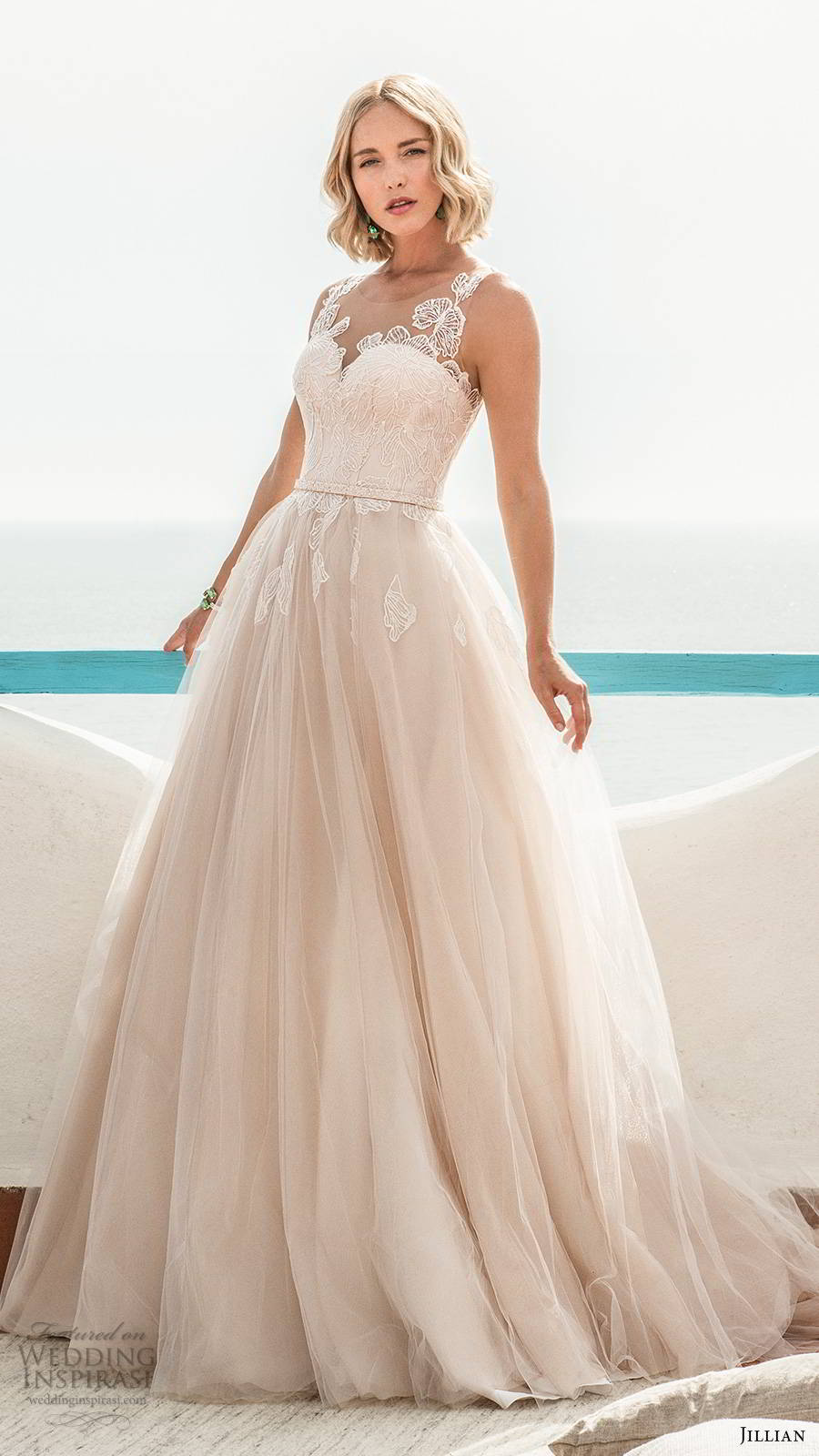 jillian sposa 2020 bridal sleeveless illusion straps sweetheart neckline embellished bodice romantic a line ball gown wedding dress chapel train blush color (5) mv