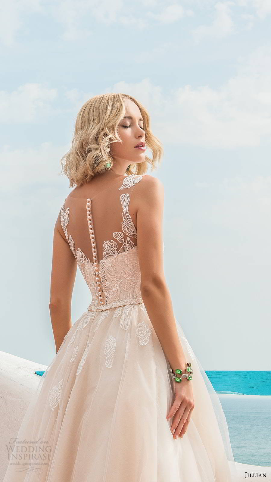 jillian sposa 2020 bridal sleeveless illusion straps sweetheart neckline embellished bodice romantic a line ball gown wedding dress chapel train blush color (5) zbv