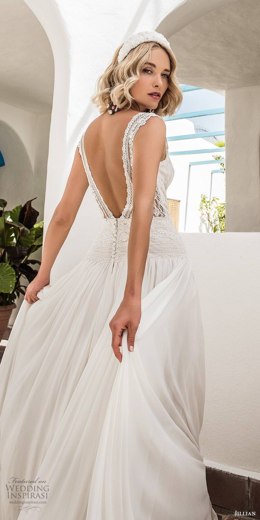 jillian sposa 2020 bridal sleeveless thick straps embellished bodice drop waist romantic boho a line ball gown wedding dress scoop back (9) bv