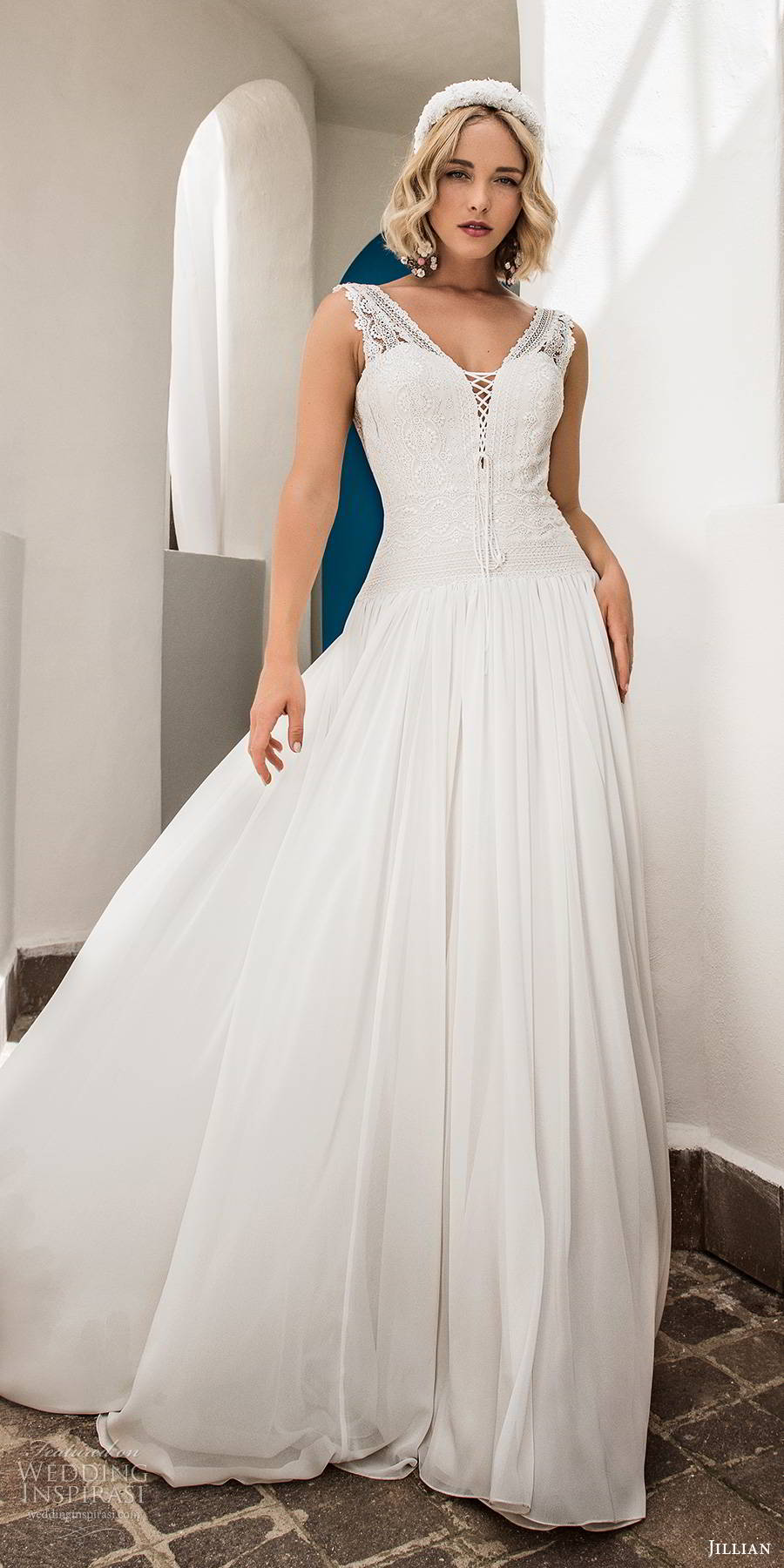 jillian sposa 2020 bridal sleeveless thick straps embellished bodice drop waist romantic boho a line ball gown wedding dress scoop back (9) mv