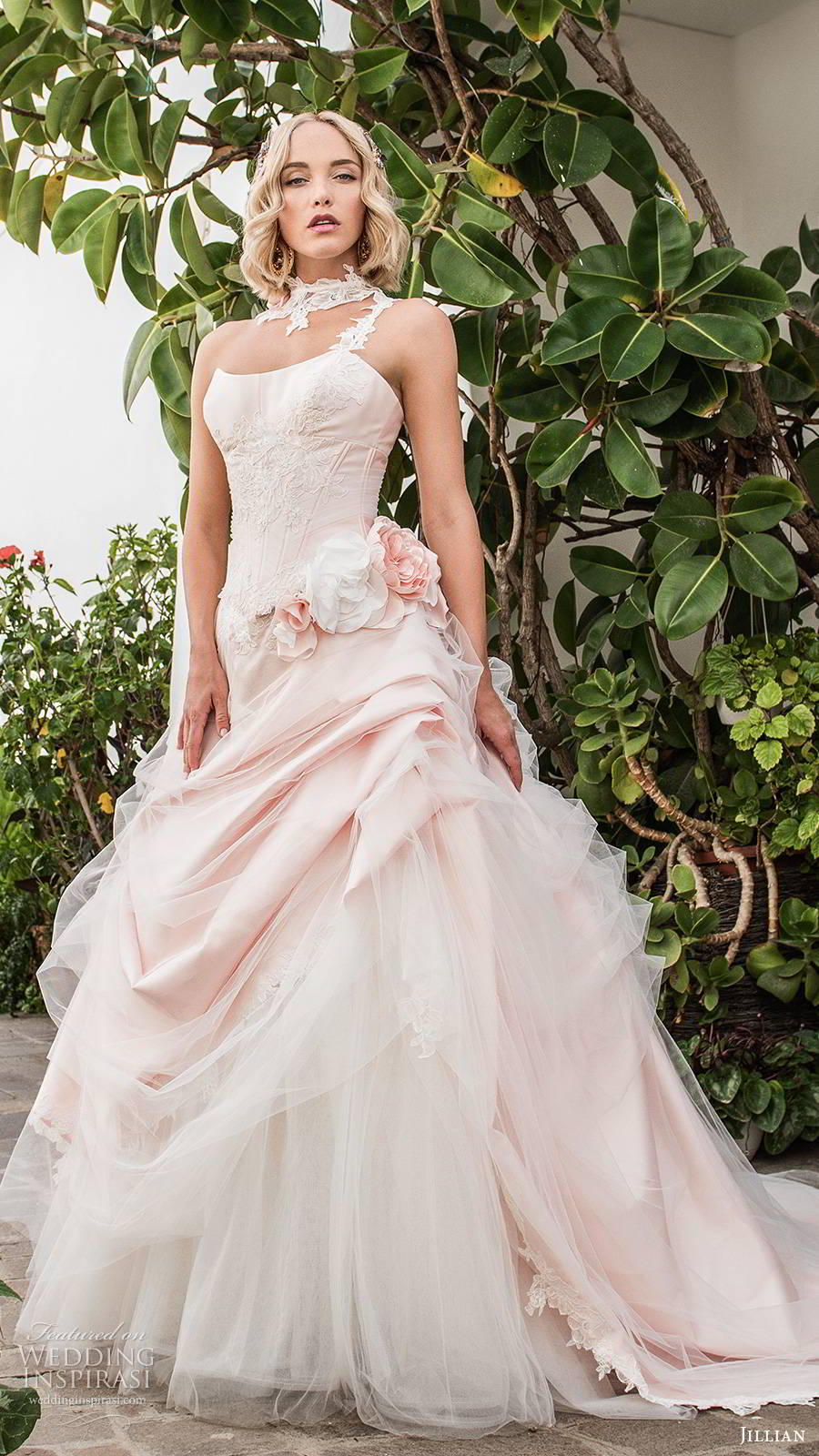 jillian sposa 2020 bridal strapless semi sweetheart neckline embellished corset bodice pickup skirt romantic ball gown wedding dress pink color chapel train (8) mv
