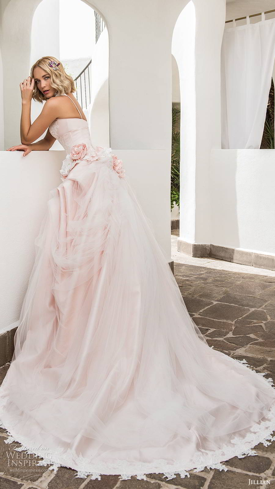 jillian sposa 2020 bridal strapless semi sweetheart neckline embellished corset bodice pickup skirt romantic ball gown wedding dress pink color chapel train (8) sv