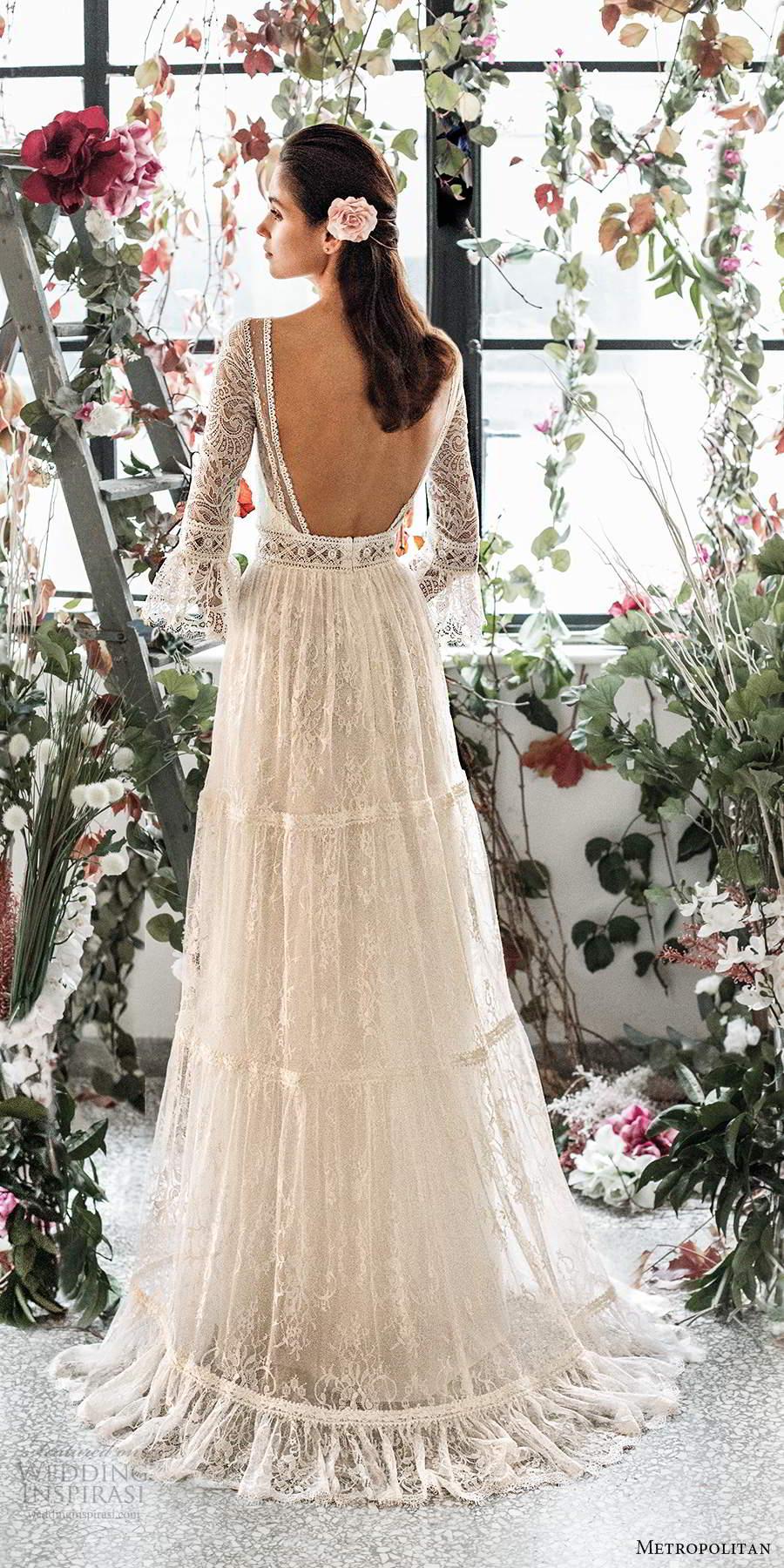 metropolitan spring 2020 bridal 3 quarter bell sleeves illusion bateau neck sweetheart neckline fully embellished lace a line boho chic wedding dress open back sweep train (8) bv