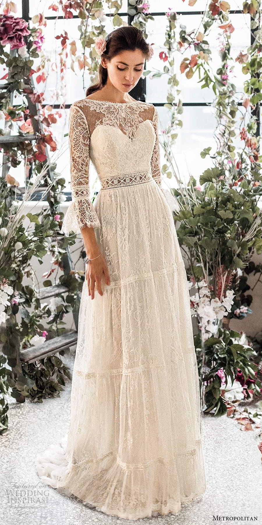 metropolitan spring 2020 bridal 3 quarter bell sleeves illusion bateau neck sweetheart neckline fully embellished lace a line boho chic wedding dress open back sweep train (8) mv
