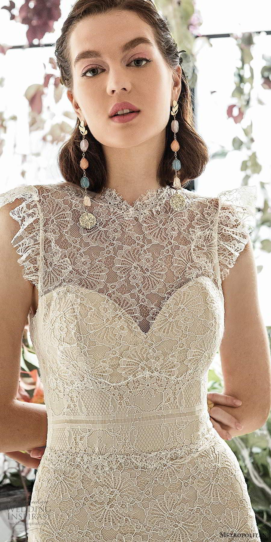 metropolitan spring 2020 bridal flutter switch illusion high neckline sweetheart bodice fit flare lace mermaid wedding dress keyhole back chapel train (13) zv