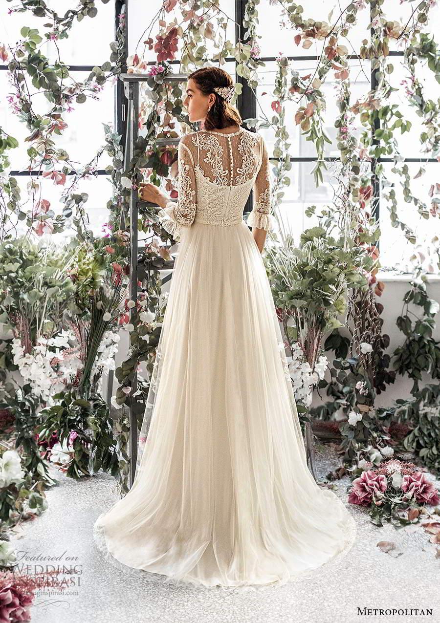 metropolitan spring 2020 bridal illusion 3 quarter sleeves jewel neckline embellished lace bodice a line wedding dress chapel train (18) bv