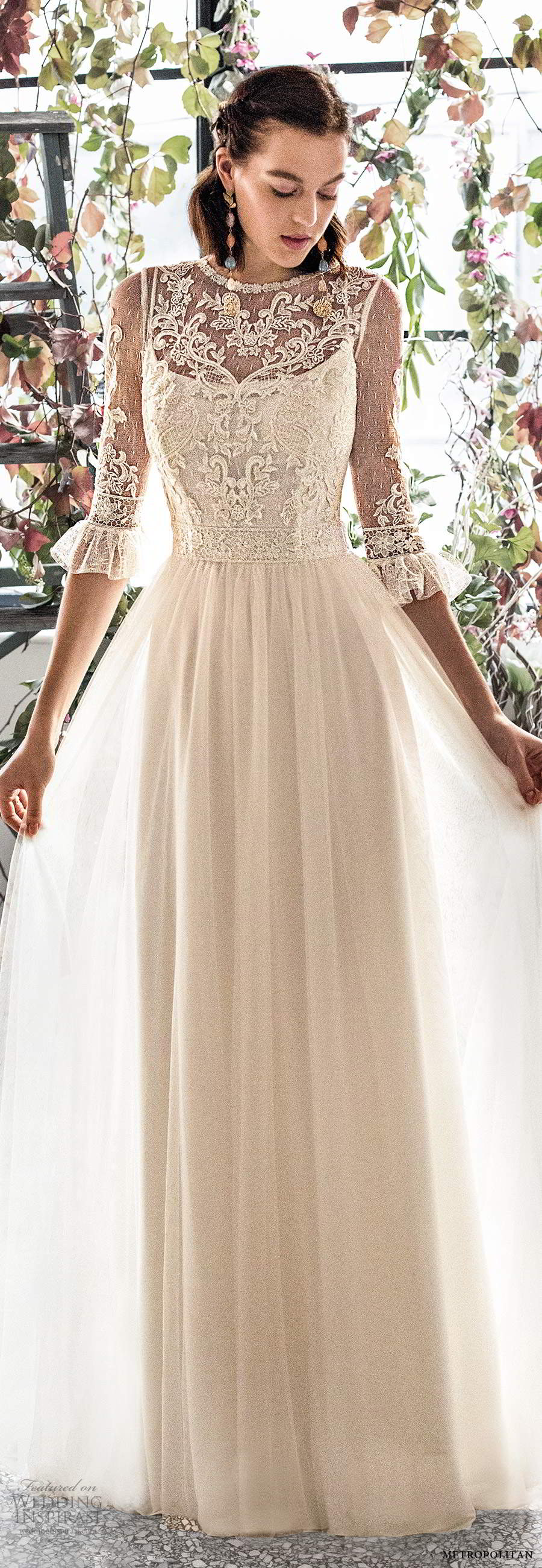 metropolitan spring 2020 bridal illusion 3 quarter sleeves jewel neckline embellished lace bodice a line wedding dress chapel train (18) mv