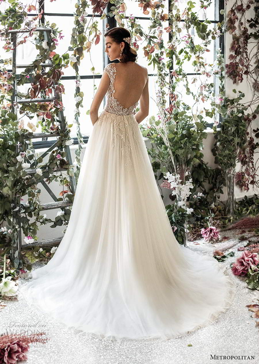 metropolitan spring 2020 bridal illusion cap sleeves sheer bateau semi sweetheart neckline embellished lace bodice soft a line wedding dress low back chapel train (9) bv