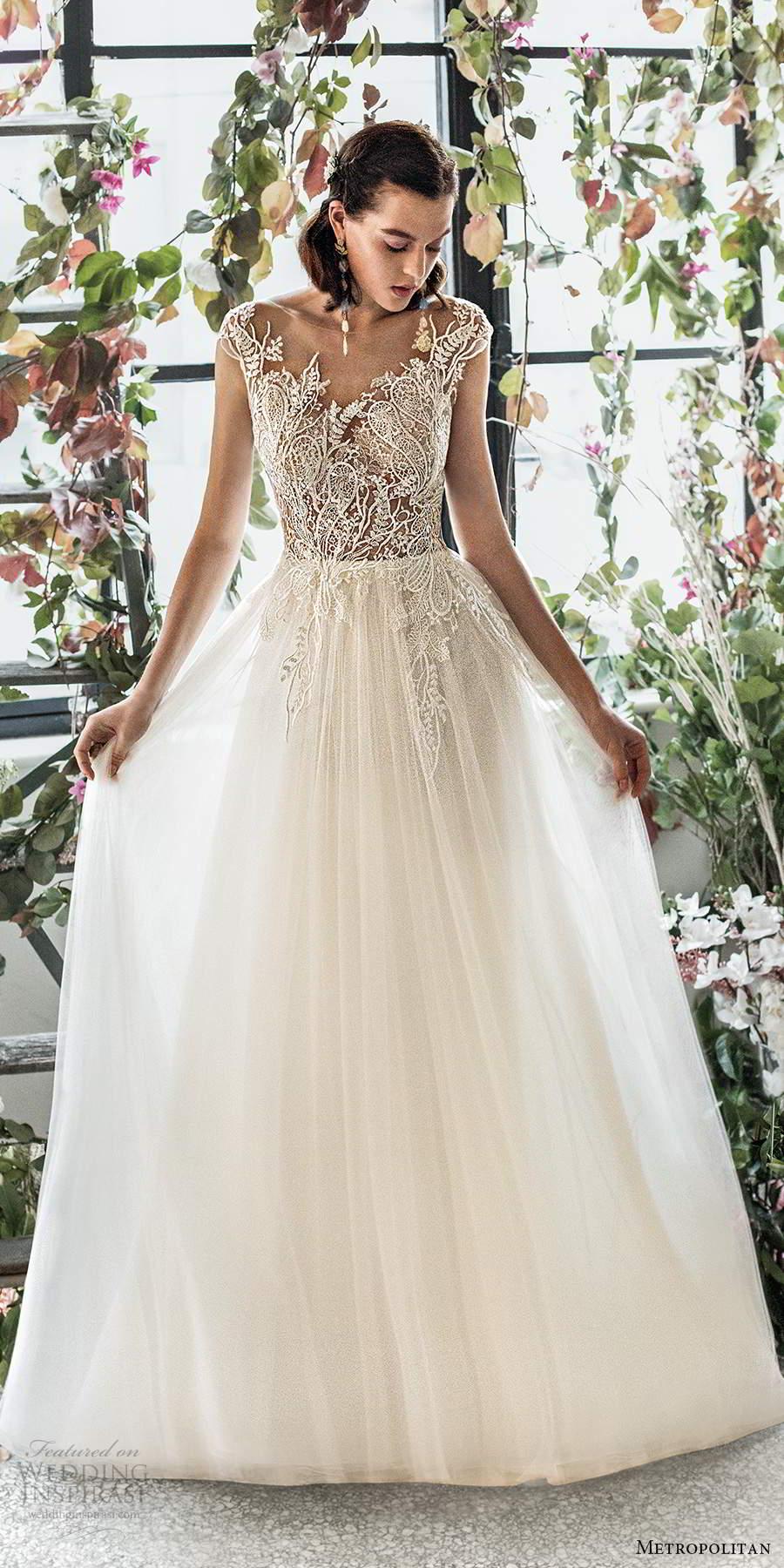 metropolitan spring 2020 bridal illusion cap sleeves sheer bateau semi sweetheart neckline embellished lace bodice soft a line wedding dress low back chapel train (9) mv