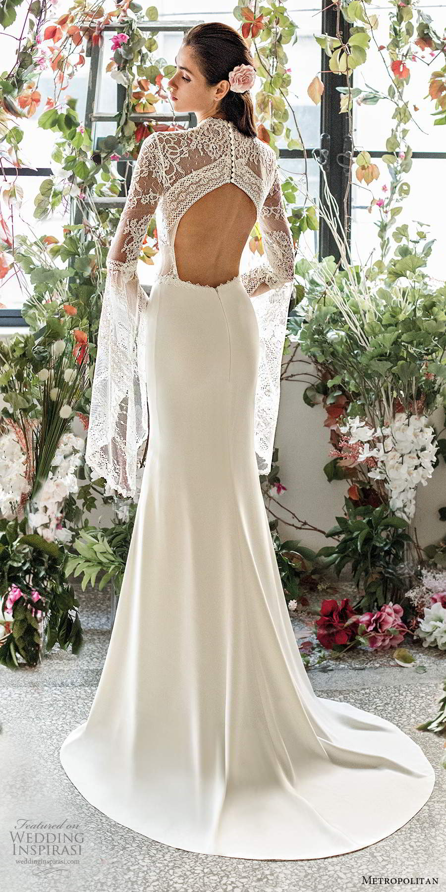 metropolitan spring 2020 bridal illusion flare long sleeves high neck sheer lace bodice modified a line sheath boho chic wedding dress keyhole back chapel train (5) bv