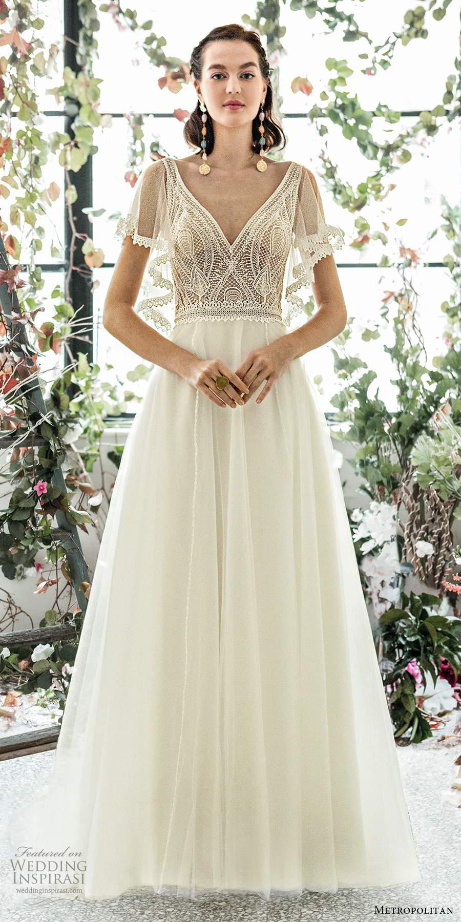 metropolitan spring 2020 bridal illusion flutter sleeves v neckline embellished lace bodice a line wedding dress sweep train (20) mv