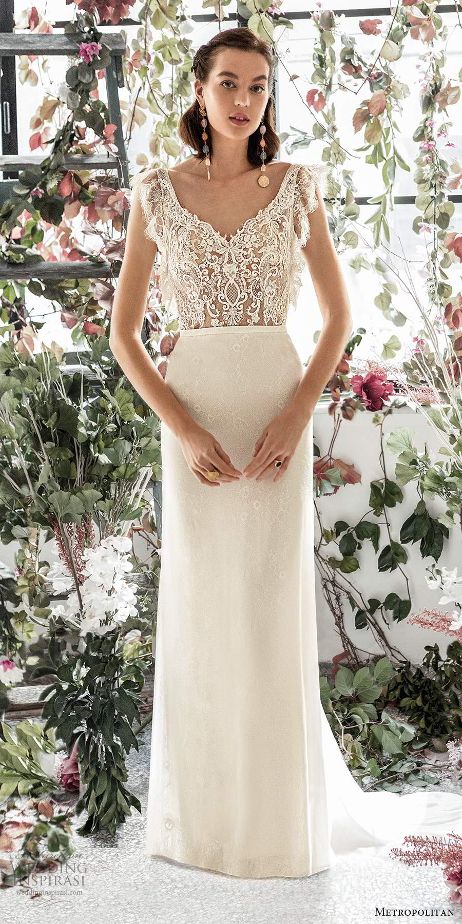 metropolitan spring 2020 bridal illusion flutter sleeves v neckline sheer lace bodice sheath mermaid wedding dress scoop back chapel train (17)  mv