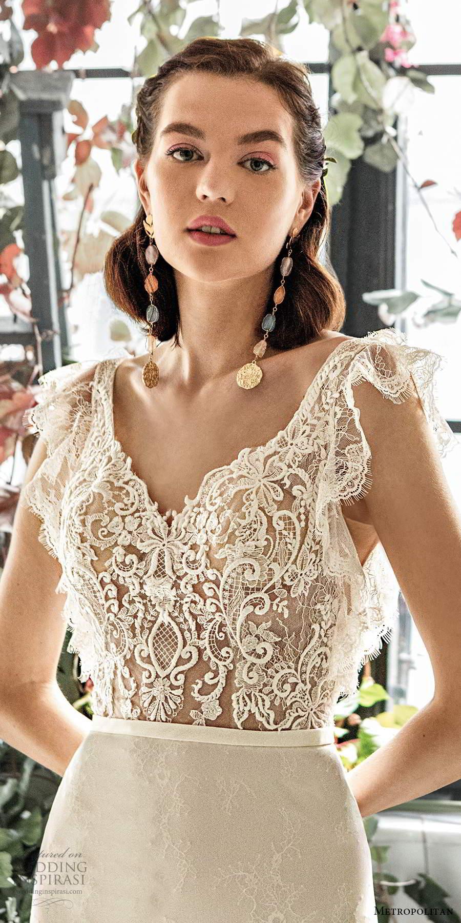 metropolitan spring 2020 bridal illusion flutter sleeves v neckline sheer lace bodice sheath mermaid wedding dress scoop back chapel train (17) zv