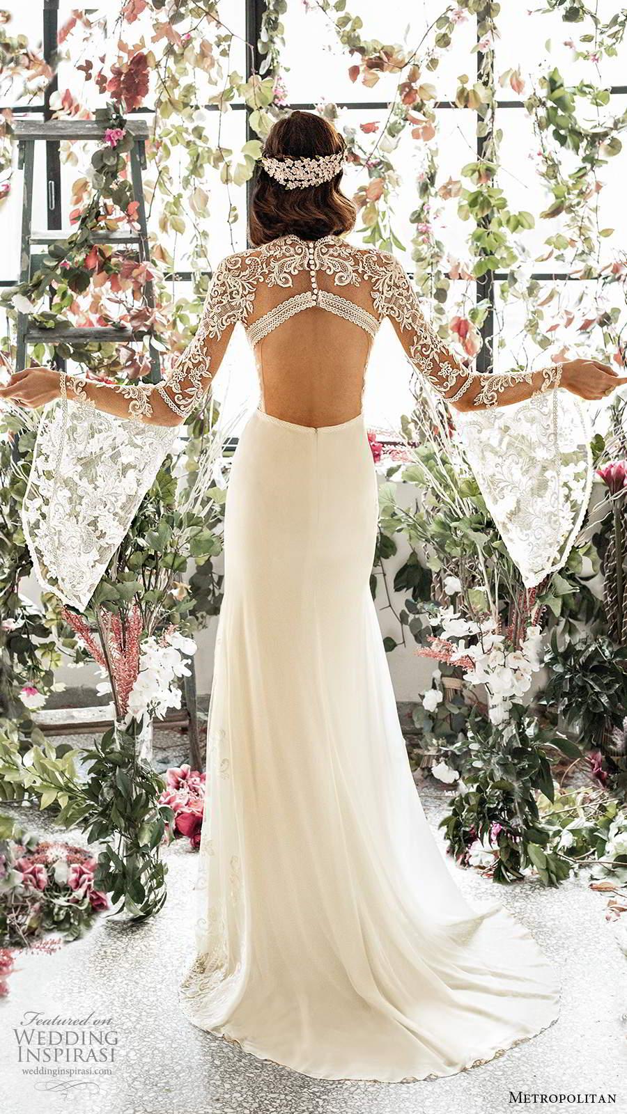 metropolitan spring 2020 bridal illusion long flare sleeves jewel neckline sheer lace embellished bodice sheath a line wedding dress keyhole back sweep train (3) bv